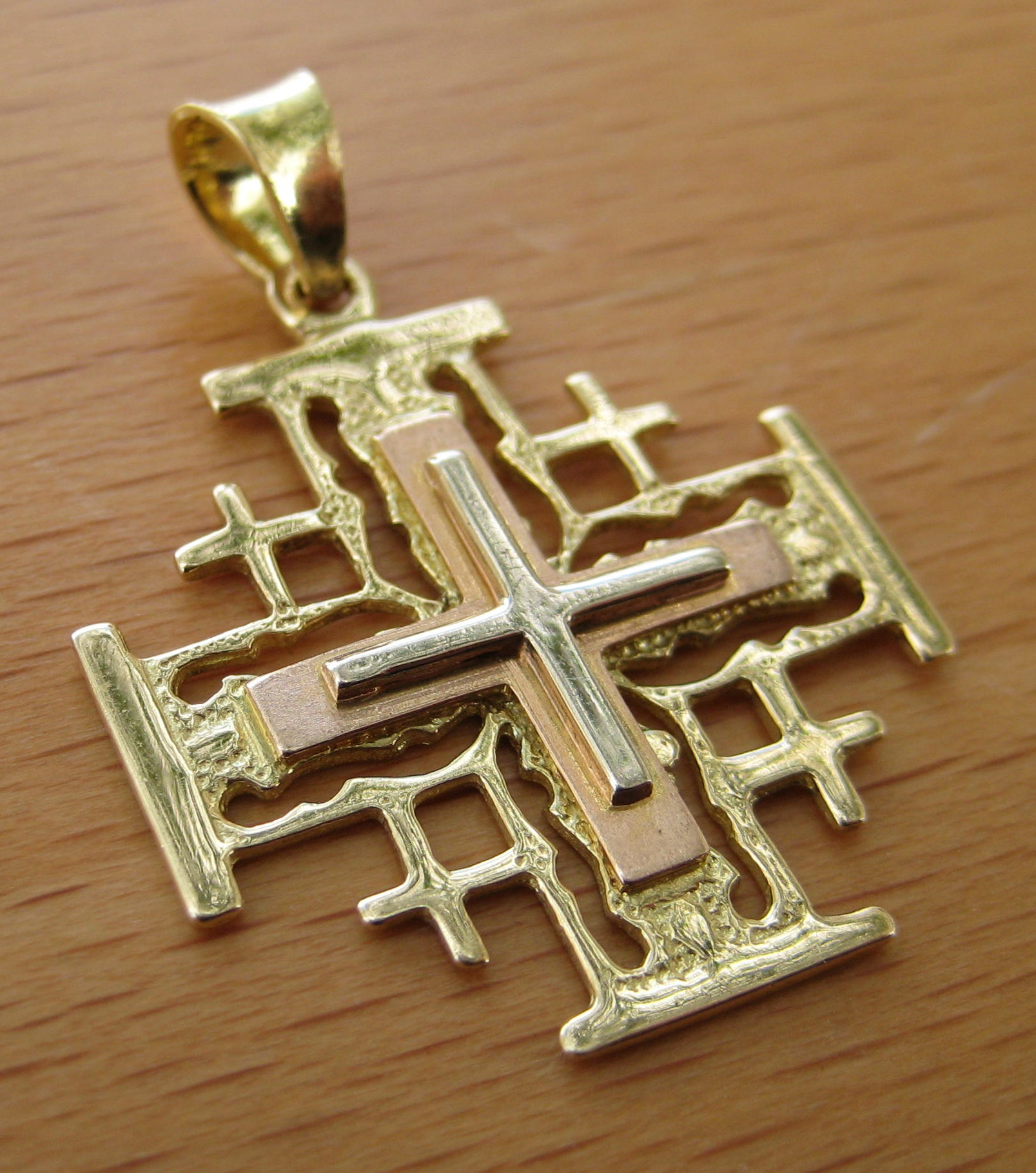 creations pink layer yellow gold top white cross jerusalem solid colored center tri three base pendant