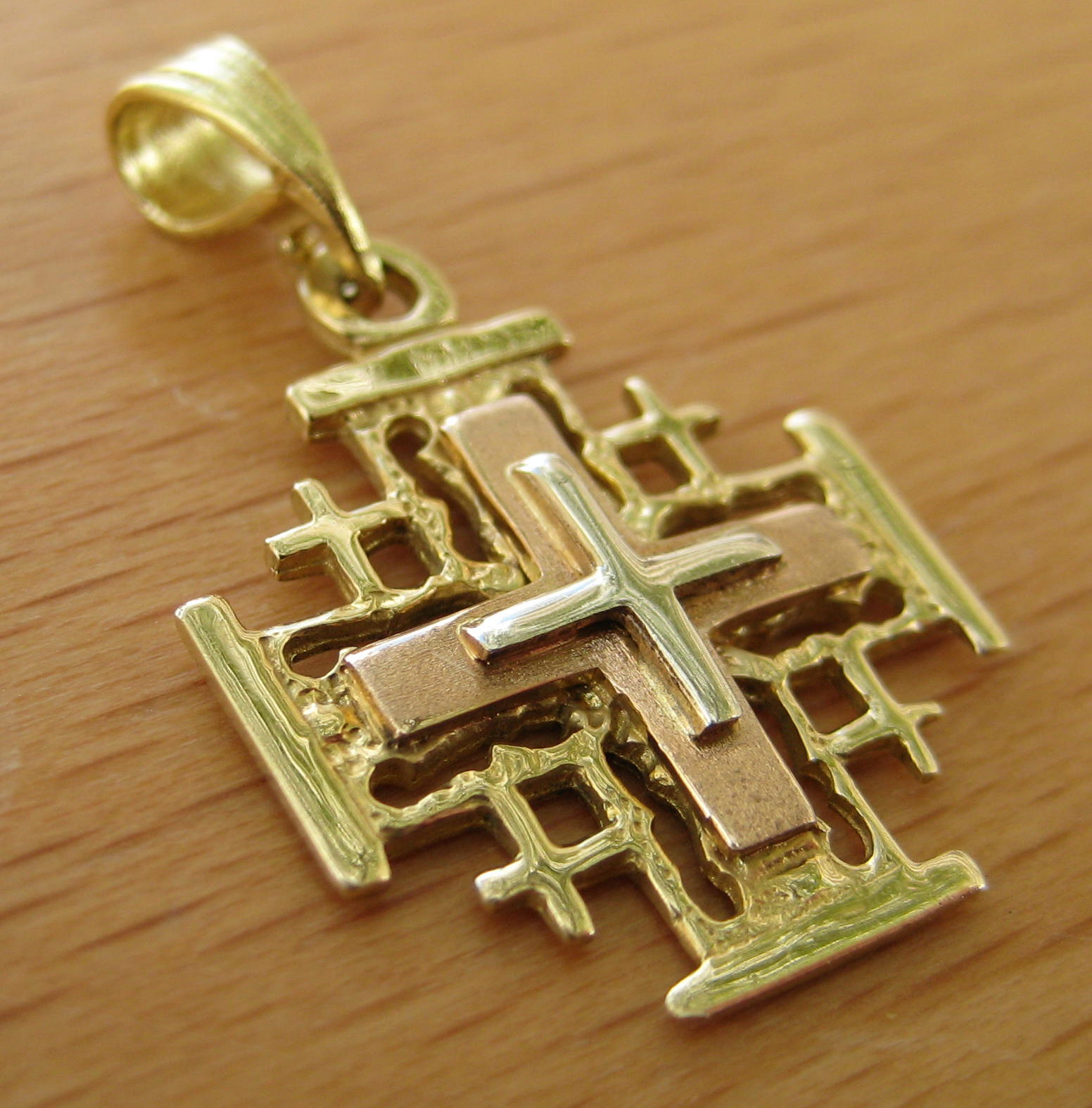 jerusalem cross chain pin reversible inch gold necklace filled yellow pendant curata